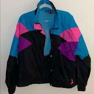 Jackets & Blazers - Vintage 80's Black Ice Color-block Windbreaker
